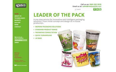 Screenshot of Home Page intelpackltd.com - Home, leader of the pack,  intelligent packaging solutions company - captured Oct. 6, 2014