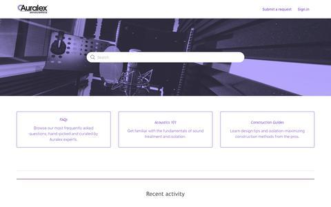 Screenshot of FAQ Page zendesk.com - Auralex Acoustics - captured Jan. 19, 2020