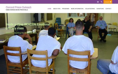 Screenshot of Home Page concordprisonoutreach.org - Concord Prison Outreach | HUMAN KINDNESS BEHIND PRISON WALLSConcord Prison Outreach | HUMAN KINDNESS BEHIND PRISON WALLS - captured Sept. 25, 2015