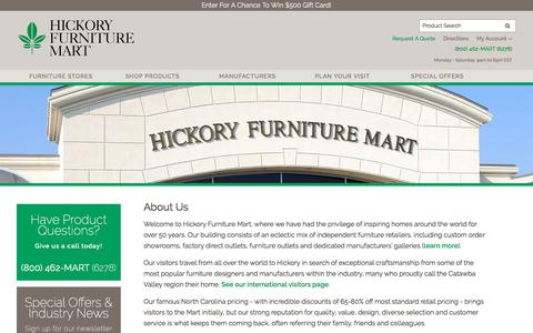 Screenshot of About Page hickoryfurniture.com - About Hickory Furniture Mart - captured Oct. 25, 2017