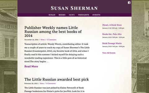 Screenshot of Press Page susanshermanauthor.com - News   Susan Sherman - captured Jan. 12, 2017