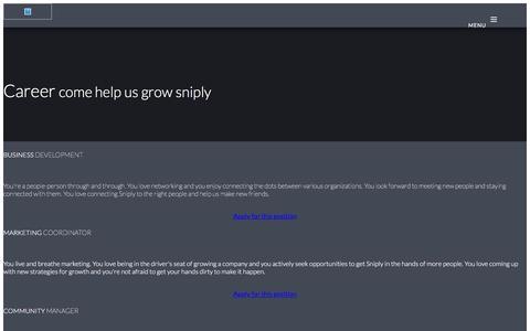 Screenshot of Jobs Page snip.ly - Sniply: Social Media Conversion | Career - captured Dec. 2, 2015