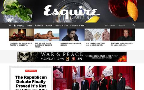 Screenshot of Home Page esquire.com - Esquire - Men's Fashion, Cocktails, Politics, Interviews, and Women - captured Feb. 14, 2016