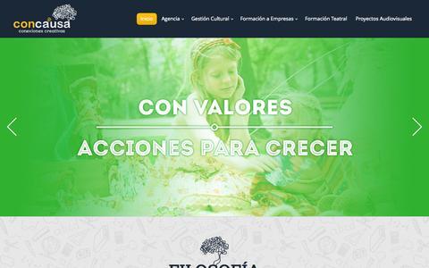 Screenshot of Home Page concausa.com - Con Causa | Conexiones Creativas - captured Oct. 2, 2014