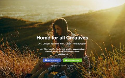 Screenshot of Home Page talenthouse.com - Talenthouse - captured Feb. 9, 2016