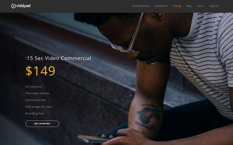 Screenshot of Pricing Page viddyad.com - Pricing   Create and Edit Video Ads Online - ViddyAd - captured May 9, 2017