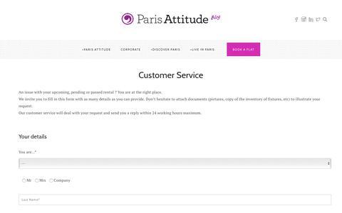 Screenshot of Support Page parisattitude.com - Customer Service - Blog Paris Attitude - captured July 15, 2018