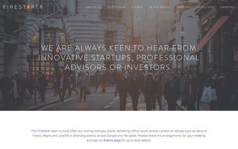 Screenshot of Contact Page firestartr.co - Contact us Ń Firestartr - captured Jan. 8, 2016