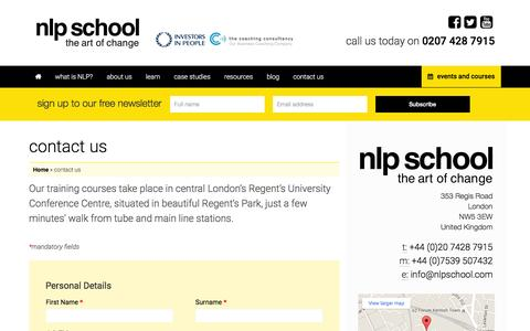 Screenshot of Contact Page nlpschool.com - contact us - NLP School - captured Feb. 16, 2016