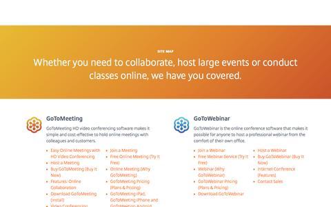 Screenshot of Site Map Page gotomeeting.com - Site Map | GoToMeeting, GoToWebinar, GoToTraining & OpenVoice - captured Nov. 27, 2016