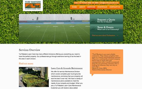 Screenshot of Services Page turfmasterslc.com - Lawn Services, Irrigation, Hardscapes | Pascagoula, MS | Turf Masters Lawn Care - captured Oct. 7, 2014