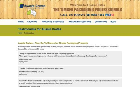 Screenshot of Testimonials Page aussiecrates.com.au - Client Testimonials | Aussie Crates Perth - captured Oct. 4, 2018