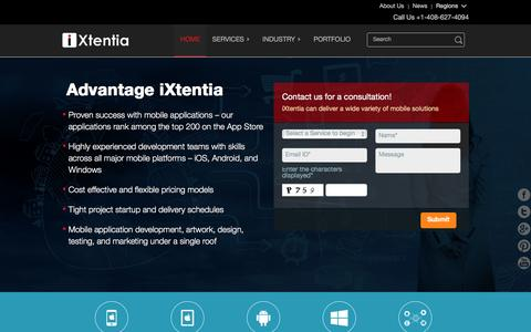 Screenshot of Home Page ixtentia.com - iOS, Android, Windows - Mobile App Development | iXtentia - captured Jan. 20, 2016