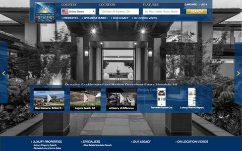 Screenshot of Home Page coldwellbankerpreviews.com - Luxury Real Estate | Coldwell Banker Previews International - captured Jan. 29, 2016