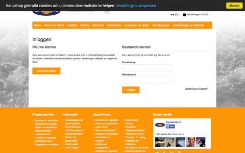 Screenshot of Login Page kanoshop.nl - Kanoshop | Klant-login - captured Sept. 30, 2014