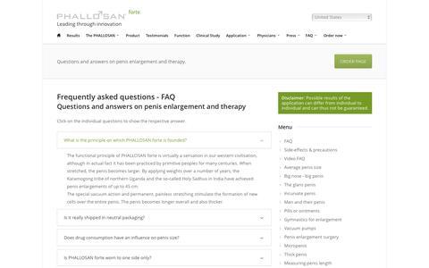 Screenshot of FAQ Page phallosan.com - FAQ - PHALLOSAN forte - captured Oct. 16, 2018