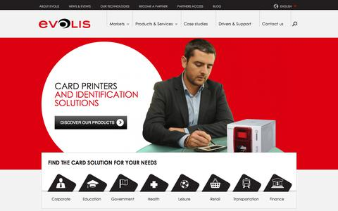 Screenshot of Home Page evolis.com - Evolis | A global leader in badge and card printers solutions - captured July 21, 2018