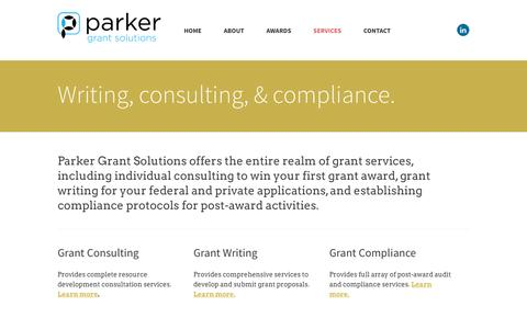 Screenshot of Services Page parkergrantsolutions.com - Services - Parker Grant Solutions - captured July 11, 2016