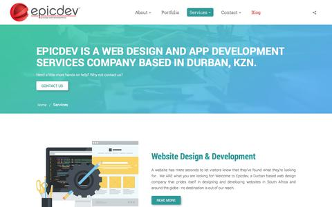 Screenshot of Services Page epicdev.co.za - Web Design and App Development Services Company based in Durban - captured July 20, 2018