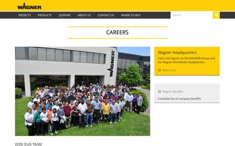 Screenshot of Jobs Page wagnerspraytech.com - Careers: Wagner SprayTech USA - captured Sept. 19, 2014