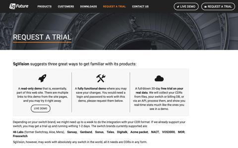 Screenshot of Trial Page 5gfuture.com - 5gFuture - Request a trial - captured Oct. 20, 2018