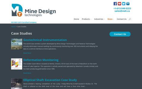 Screenshot of Case Studies Page mdt.ca - Case Studies | Mine Design Technologies (MDT) - captured Oct. 19, 2017