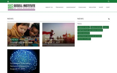 Screenshot of Press Page gesellinstitute.org - News – Gesell Institute - captured Sept. 28, 2018