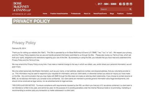 Screenshot of Privacy Page boselaw.com - Privacy Policy - Bose McKinney & Evans - captured Oct. 5, 2014