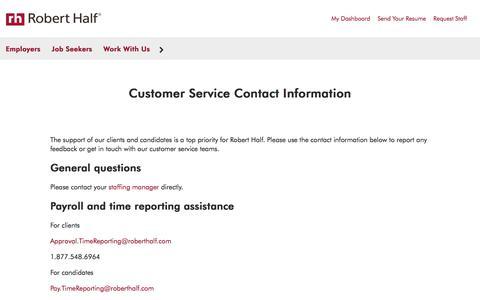 Screenshot of Support Page roberthalf.com - Customer Service | Robert Half - captured Aug. 24, 2017