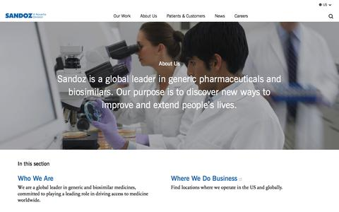 Screenshot of About Page sandoz.com - About Us | Sandoz US - captured Oct. 14, 2017