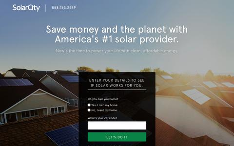 Screenshot of Landing Page solarcity.com - SolarCity - A Cleaner, More Affordable Alternative to Your Utility Bill - captured Oct. 23, 2016