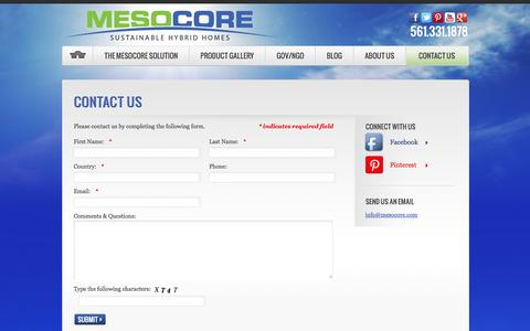 Screenshot of Contact Page mesocore.com - Contact Us | Green and Affordable Homes | MesocoreMesocore - captured Oct. 27, 2014