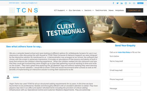 Screenshot of Testimonials Page tcns.it - Testimonials - TCNS - captured Sept. 20, 2018