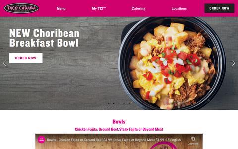 Screenshot of Home Page tacocabana.com - Mexican Fast Casual Restaurant | Taco Cabana - captured Jan. 10, 2020