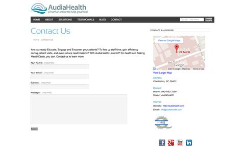 Screenshot of Contact Page audiahealth.com - AudiaHealth - a human voice to help you healContact Us - captured Oct. 4, 2014