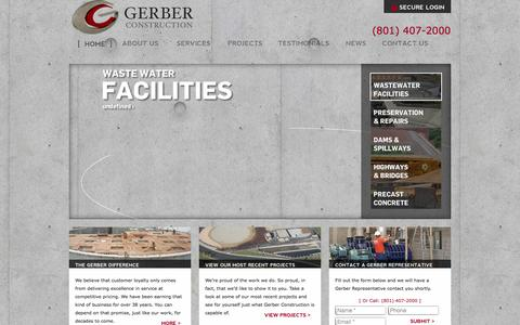 Screenshot of Home Page gerberconstructioncompany.com - Gerber Construction | Heavy Civil Projects in Utah - captured Oct. 2, 2014