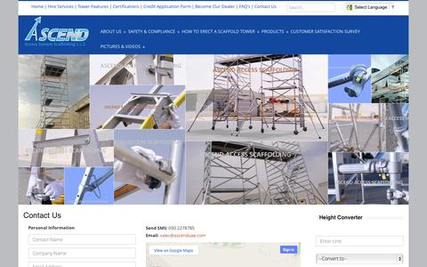 Screenshot of Contact Page ascenduae.com - ASCEND Scaffolding::  Aluminum Scaffolding, Mobile Scaffolding, Best Aluminum Scaffolding Supplier in Dubai, Abudhabi, UAE. - captured Nov. 2, 2014