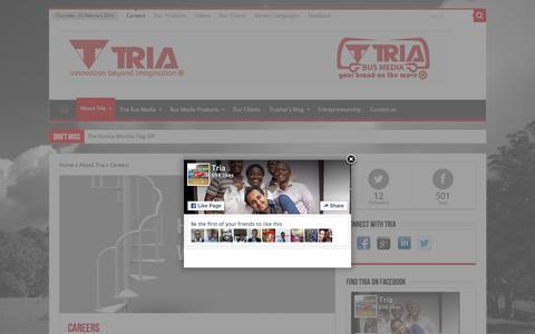 Screenshot of Jobs Page tria.co.ke - Careers | Tria Group - captured Feb. 25, 2016