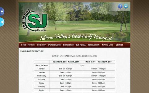 Screenshot of Hours Page sjmuni.com - Hours of Operation | San Jose Municipal Golf Course - captured Oct. 4, 2014