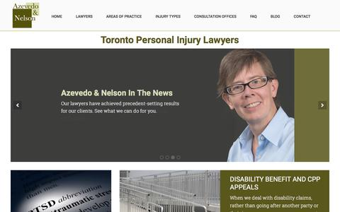 Screenshot of Home Page azevedonelson.com - Toronto Personal Injury Lawyers - Azevedo & Nelson Law Firm - captured July 31, 2018