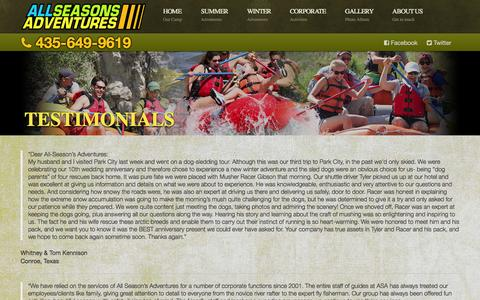 Screenshot of Testimonials Page allseasonsadventures.com - All Seasons Adventures Testimonials - captured Sept. 30, 2014