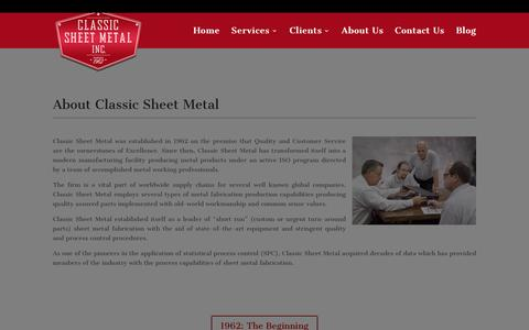 Screenshot of About Page classic-sheet-metal.com - About Classic Sheet Metal Located in Franklin Park IL - captured Jan. 28, 2016