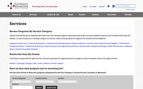 Screenshot of Services Page ccdocle.org - Services - Catholic Charities Diocese of Cleveland - captured Oct. 2, 2014