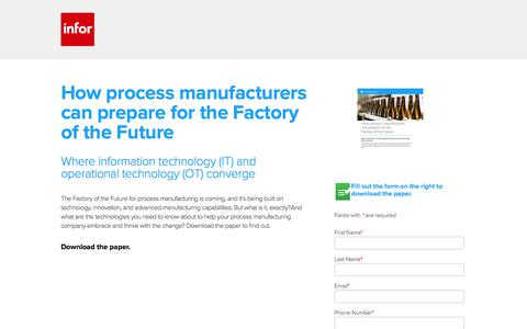 Screenshot of Landing Page infor.com - How process manufacturers can prepare for the Factory of the Future - captured March 2, 2018