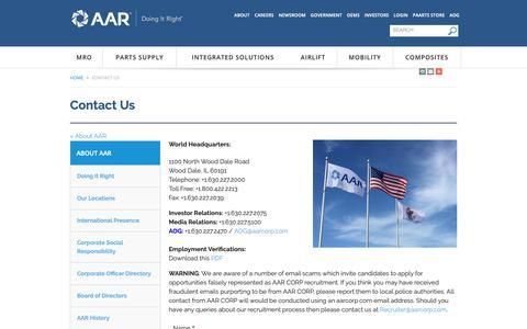 Screenshot of Contact Page aarcorp.com - Contact Us - About AAR   AAR Corporate - captured Nov. 10, 2018
