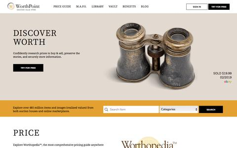 Screenshot of Home Page worthpoint.com - WorthPoint | Antiques, Art and Collectibles - What's it Worth? | WorthPoint - captured July 8, 2019