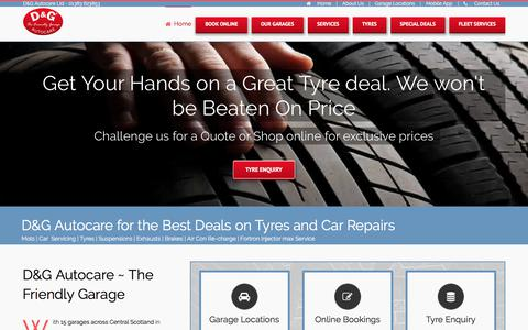 Screenshot of Home Page dandgautocare.co.uk - D&G Autocare : Cheap  car tyres, mots, servicing, brakes, batteries, exhausts and car repairs in Dunfermline - captured July 18, 2018