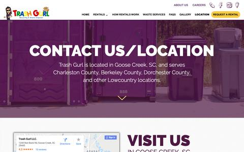 Screenshot of Contact Page trashgurl.com - Contact Us/Location - Trash Gurl - captured Oct. 20, 2018