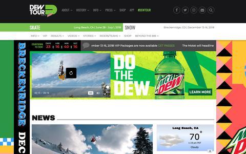 Screenshot of Press Page dewtour.com - All Dew Tour News | DewTour.com - captured Nov. 19, 2018