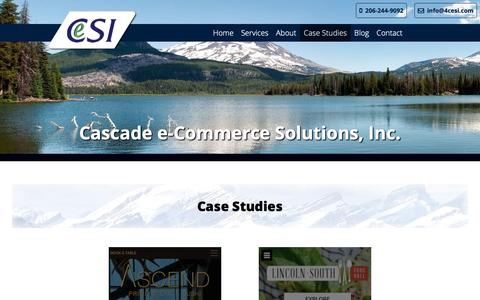 Screenshot of Case Studies Page 4cesi.com - Case Studies | Cascade e-Commerce Solutions, Inc. - captured Sept. 27, 2018